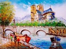Pintura a óleo - opinião da rua de Paris Fotos de Stock