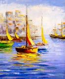 Pintura a óleo - opinião do porto ilustração stock