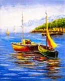 Pintura a óleo - opinião do porto ilustração royalty free