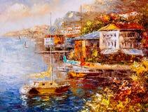 Pintura a óleo - opinião do porto, Grécia ilustração do vetor
