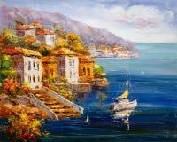 Pintura a óleo - opinião do porto, Grécia ilustração stock