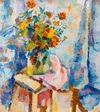 Pintura a óleo original bonita das flores em um vaso na lona ilustração royalty free