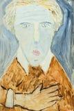 Pintura a óleo original bonita do retrato de um homem na lona ilustração stock