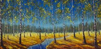 Pintura a óleo original do rio em um bosque do vidoeiro ilustração do vetor