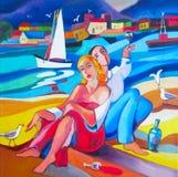 Pintura a óleo original os amantes e o vinho Imagem de Stock Royalty Free