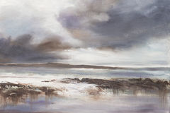 Pintura a óleo original, Seascape tormentoso da praia Fotos de Stock