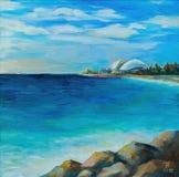 Pintura a óleo original, Seascape, vista da cidade de Sochi, Rússia foto de stock