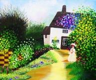 Pintura a óleo - pátio Imagem de Stock Royalty Free