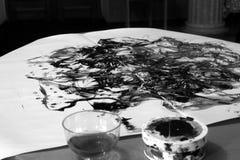 Pintura a óleo preto e branco fotografia de stock royalty free