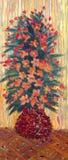 Pintura a óleo Ramalhete luxúria de flores vermelhas em um vaso Fotos de Stock Royalty Free