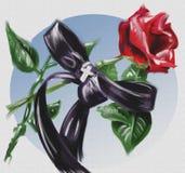 Pintura a óleo: Rosa e fita ilustração do vetor