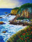 Pintura a óleo - Seacoast Fotografia de Stock Royalty Free