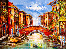 Pintura a óleo - Veneza, Italy Foto de Stock