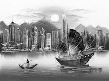 Pintura a óleo - Victoria Harbor, Hong Kong ilustração stock