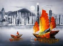 Pintura a óleo - Victoria Harbor, Hong Kong ilustração do vetor