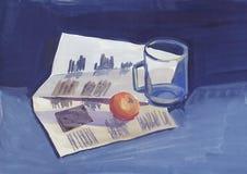 Pintura, aún vida con un periódico, un de cristal y una naranja Fotografía de archivo
