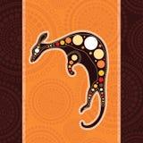 Pintura aborígene do vetor da arte com canguru Ilustração baseada no estilo aborígene do fundo do ponto da paisagem Fotografia de Stock Royalty Free