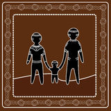 Pintura aborígene do vetor da arte Conceito de família feliz Imagem de Stock Royalty Free