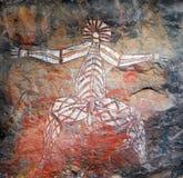 Pintura aborigen de la roca Fotografía de archivo