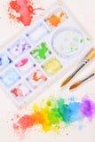 Pintura abstracta colorida de la acuarela con los cepillos Fotografía de archivo