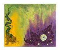 Pintura abstracta con las gotas, la tela y la lentejuela fotografía de archivo libre de regalías