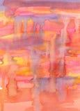 Pintura abstracta de la acuarela. Cuesta roja, amarilla, anaranjada y violeta Imagen de archivo libre de regalías