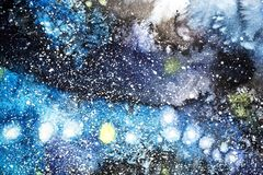 Pintura abstracta de la acuarela dibujo del color de agua El Watercolour borra el fondo de la textura imágenes de archivo libres de regalías