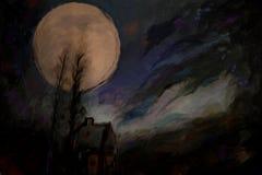 Pintura abstracta de la Luna Llena de la acuarela Imágenes de archivo libres de regalías