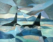 Pintura abstracta de las orcas que nadan