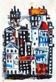 Pintura abstracta de los edificios de la ciudad