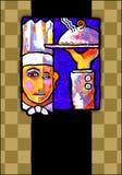 Pintura abstracta de un cocinero Stock de ilustración