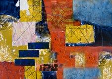 Pintura abstracta del collage de los media mezclados Fotografía de archivo libre de regalías