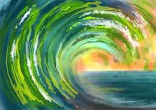 Pintura abstracta del fondo de las ondas verdes de mar Fotografía de archivo