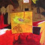 Pintura abstracta moderna/cuadrado amarillo Imágenes de archivo libres de regalías