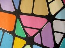 Pintura abstracta púrpura verde rosada amarillo-naranja roja de la pared Imágenes de archivo libres de regalías