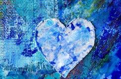 Pintura abstrata azul com ele Imagens de Stock