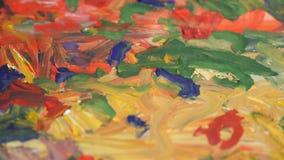 Pintura abstrata com pinturas Cursos da escova Cursos da escova Close-up vídeos de arquivo