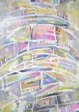 Pintura abstrata com vários elementos geométricos Fotografia de Stock Royalty Free