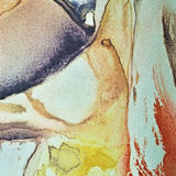 Pintura abstrata da aquarela, close up macro textured pintado do fundo da lona da tela de seda, turquesa pastel impressa, azul, b Imagem de Stock