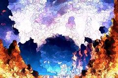 Pintura abstrata das montanhas Fotos de Stock
