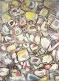 Pintura abstrata Pedras do rio da montanha Minerais preciosos Foto de Stock Royalty Free