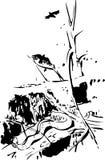 Pintura abstrata A tinta chapinha a textura Ilustração desenhada mão do vetor Conceito animal Conceito abstrato Fotografia de Stock Royalty Free