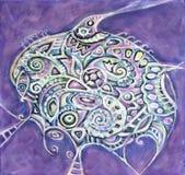 Pintura acrílica abstrata em um fundo violeta do grunge Foto de Stock Royalty Free