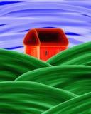 Pintura acrílica da casa alaranjada ilustração royalty free