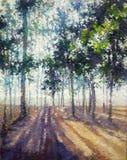 Pintura acrílica das impressões do óleo da floresta marrom tropical ilustração royalty free