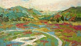 Pintura acrílica do óleo da aterrissagem do helicóptero do campo da montanha ilustração stock