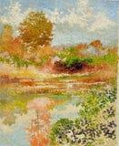 Pintura acrílica do óleo tropical do impressionismo da reflexão do lago ilustração royalty free
