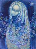 Pintura acrílica Esperando o nascimento Mulher misteriosa Fotografia de Stock Royalty Free