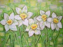 Pintura acrílica Flores ou narciso dos narcisos amarelos Fotografia de Stock