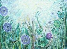 Pintura acrílica Plantas de florescência do prado Imagem de Stock